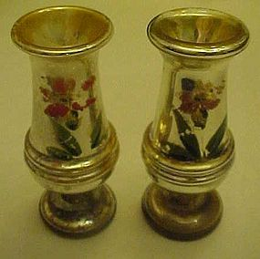 Pair of antique  hand painted Mercury glass vases