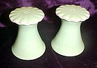 Light green ceramic salt and pepper shakers