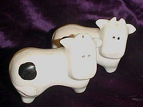 Black & white ceramic cow shakers