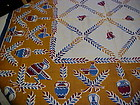 Vintage blue and gold print tablecloth 48 x 49
