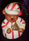 Porcelain teddy bear in striped pajamas bell ornament