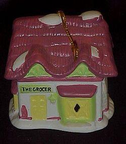 Readers Digest Grocer  porcelain bell ornament 1991