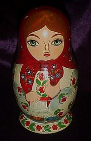 Large hand painted Russian matryoshka nesting doll set