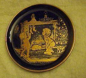 Lindner Kueps cobalt miniature plate Christmas Cheer
