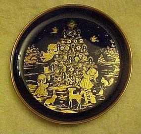 Lindner Kueps cobalt miniature plate Peace on Earth
