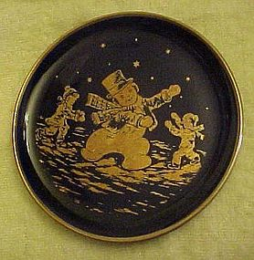 Lindner Kueps cobalt miniature plate Have Holly Jolly
