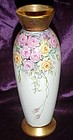 Hand painted porcelain bud vase pink and yellow roses