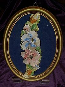 Vintage Capodimonte  flowers in oval  frame