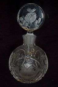 Exquisite brilliant cut crystal floral perfume bottle