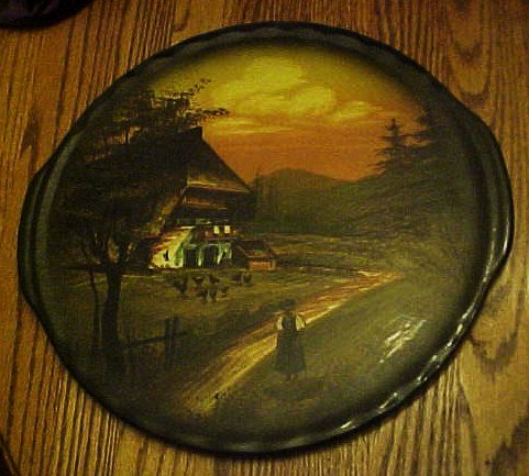 Old hand painted Germany farm scene cake plate