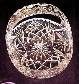 Cut  polished lead crystal  oval basket