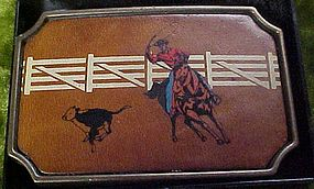 Vintage BTS Calf roper buckle brass and leather rodeo