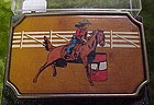 Vintage BTS brass and leather Barrel Racer rodeo buckle