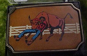 Vintage BTS Bull Dogger steer wrestler brass  buckle