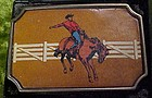 Vintage BTS Bronc rider brass and leather rodeo buckle