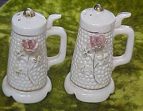Vintage porcelain stein shakers with pink rose