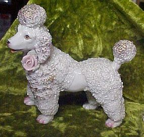 Vintage Japan  spaghetti coleslaw poodle with pink rose