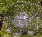 Imperial Candlewick punch bowl with 12 cups