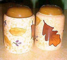 Autumn leaves ceramic salt and pepper shakers