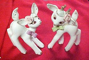 Pair of vintage frisky deer  with  applied pink roses