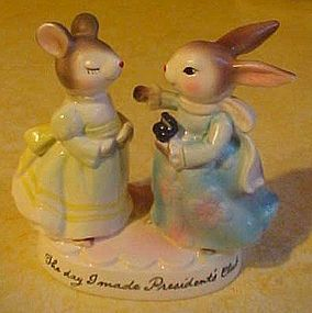 Avon Presidents Club  1980  mouse and bunny figurine