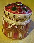 Hand painted trinket box with ruby rhinestone