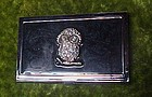 Shiny silvertone business card case with rhinestone owl