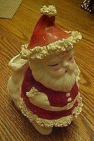 Vintage ceramic Santa planter with spaghetti trim