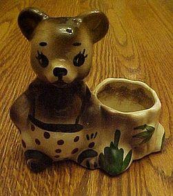 Vintage pottery  bear by stump planter polka dot pants