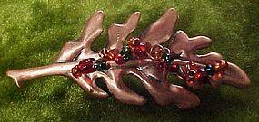 Copper plated oak leaf pin
