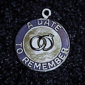 Vintage Sterling wedding charm  A date to remember