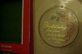 Hallmark Keepsake acrylic ornament Gratitude1989
