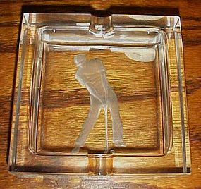 Gorgeous intaglio crystal IRICE ashtray with Golfer