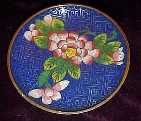 Old Chinese brass and Cloissine  enamel floral plate