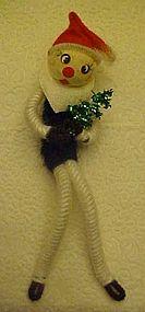 Vintage felt and pipe cleaner Santa ornament