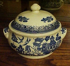 Churchill England Blue willow covered vegetable bottom