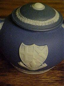 Blue white Jasperware teapot  Felix Towe coat of arms