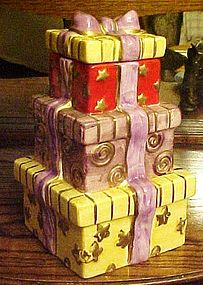 Stack of presents ceramic cookie jar