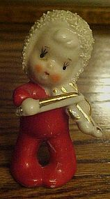 Old Christmas  spaghetti  trim child & violin figurine