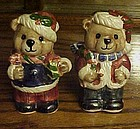Adorable ceramic lustre finish Santa bear shakers