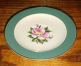 Homer Laughlin Empire Green saucer pink flower center