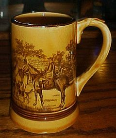 Vintage ceramic Fred Roberts tan stein with hunt scene