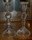 Tall cut lead crystal candlesticks with tulip pattern