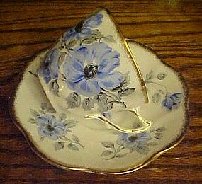 Rosaina bone china cup and saucer blue flowers w/gold