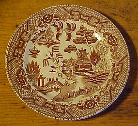 Vintage brown willow transferware bread plate JAPAN 6""
