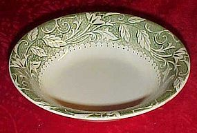USA 31 cereal bowl wide rim of green and white florals