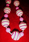 60's Mod psychedelic  swirls of hot pink necklace