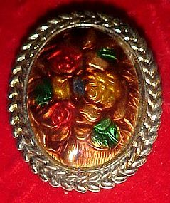 Floral roses brooch pin Goofus glass coloring
