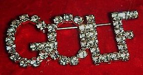 Glittering crystal rhinestone GOLF pin