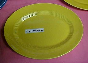 "HLC Harlequin yellow oval platter 9""x 11 1/2"""
